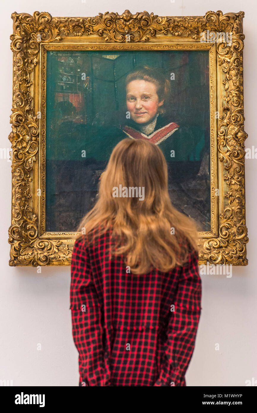 London, UK. 2nd Feb, 2018. Stella Cartwright, aged 9, looks at the portrait Millicent Fawcett by Annie Swynnerton, - Stock Image