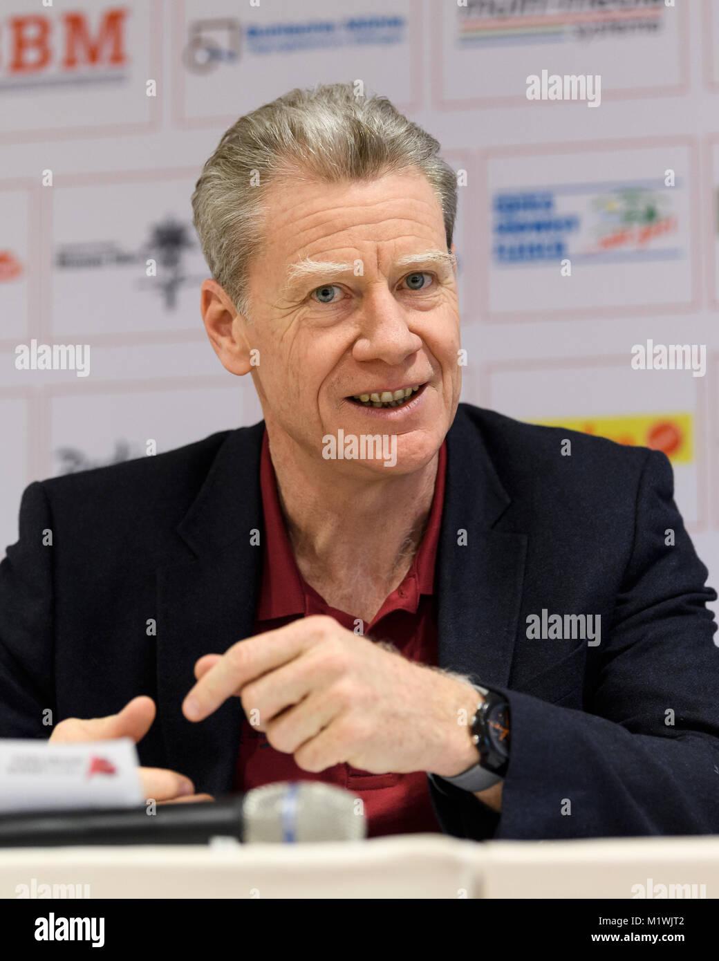 Karlsruhe, Deutschland. 02nd Feb, 2018. Meeting Direktor Alain Blondel, Portrait, PortrÃ_t, Kopfbild, Kopf. - Stock Image