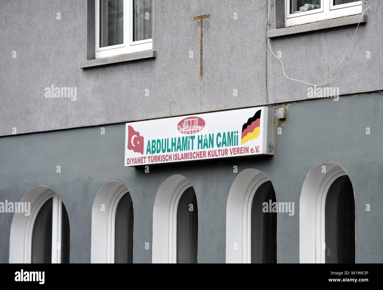 Oer-Erkenschwick, Germany. 2nd Feb, 2018. 'Abdulhamit Han Camii' reads a sign on the house whose inhabitants - Stock Image