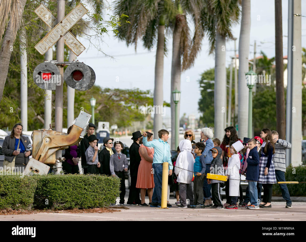 Boca Raton, Florida, USA. 2nd Feb, 2018. A group of grade school children from Southeast Florida Home Schoolers - Stock Image