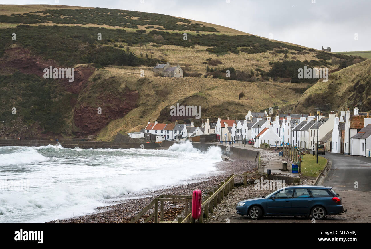 Pennan, Aberdeenshire, Scotland, United Kingdom, 2nd February 2018. The strong winds create a surge in the North - Stock Image