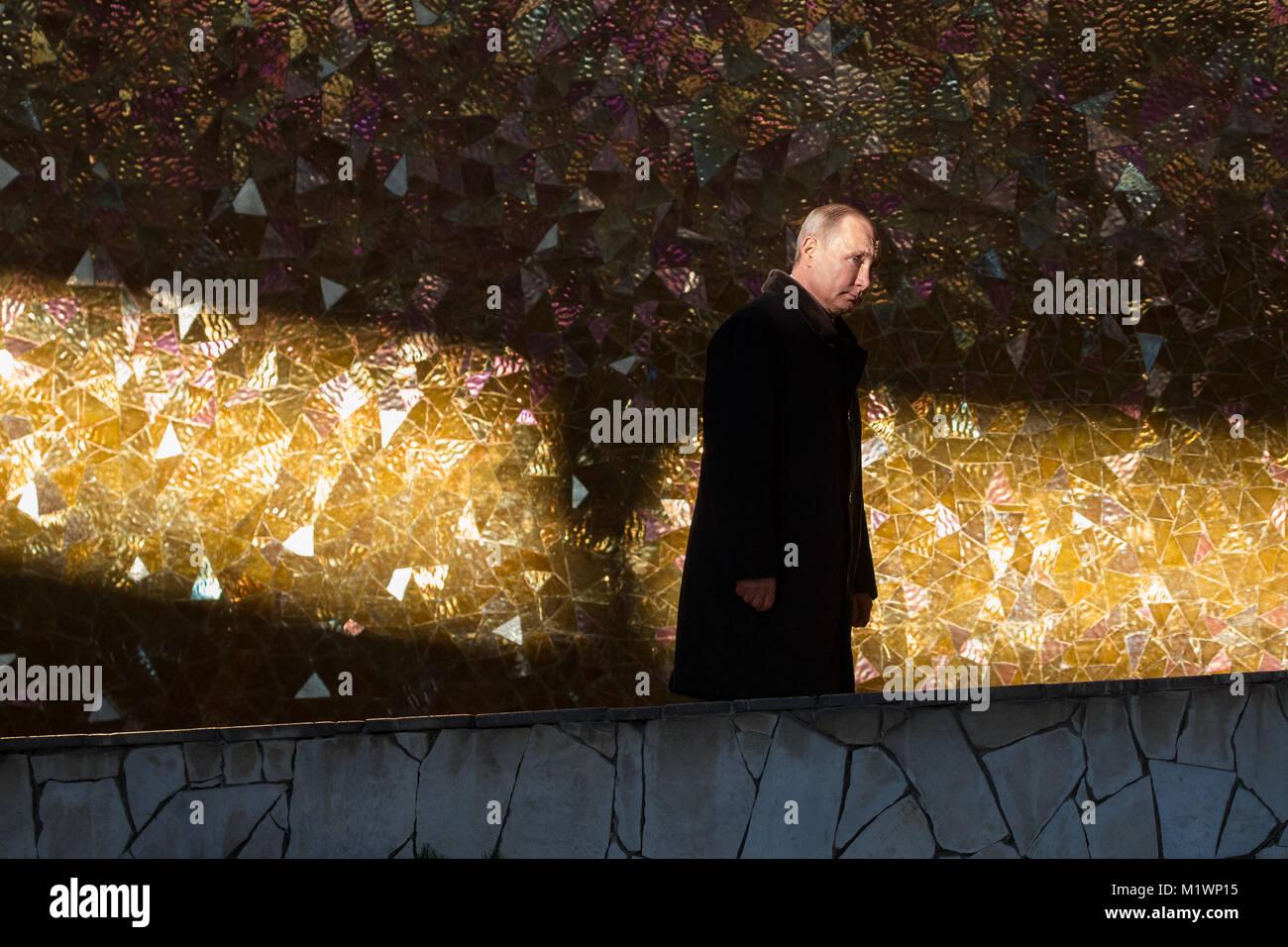 Volgograd, Russia. 2nd Feb, 2018. Russian President Vladimir Putin leaves the Battle of Stalingrad State Historical Stock Photo
