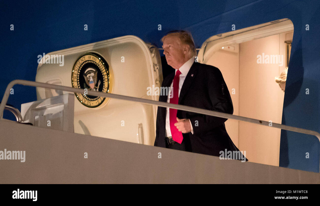West Palm Beach, Florida, USA. 2nd Feb, 2018. President Donald J. Trump arrives aboard Air Force One at Palm Beach - Stock Image