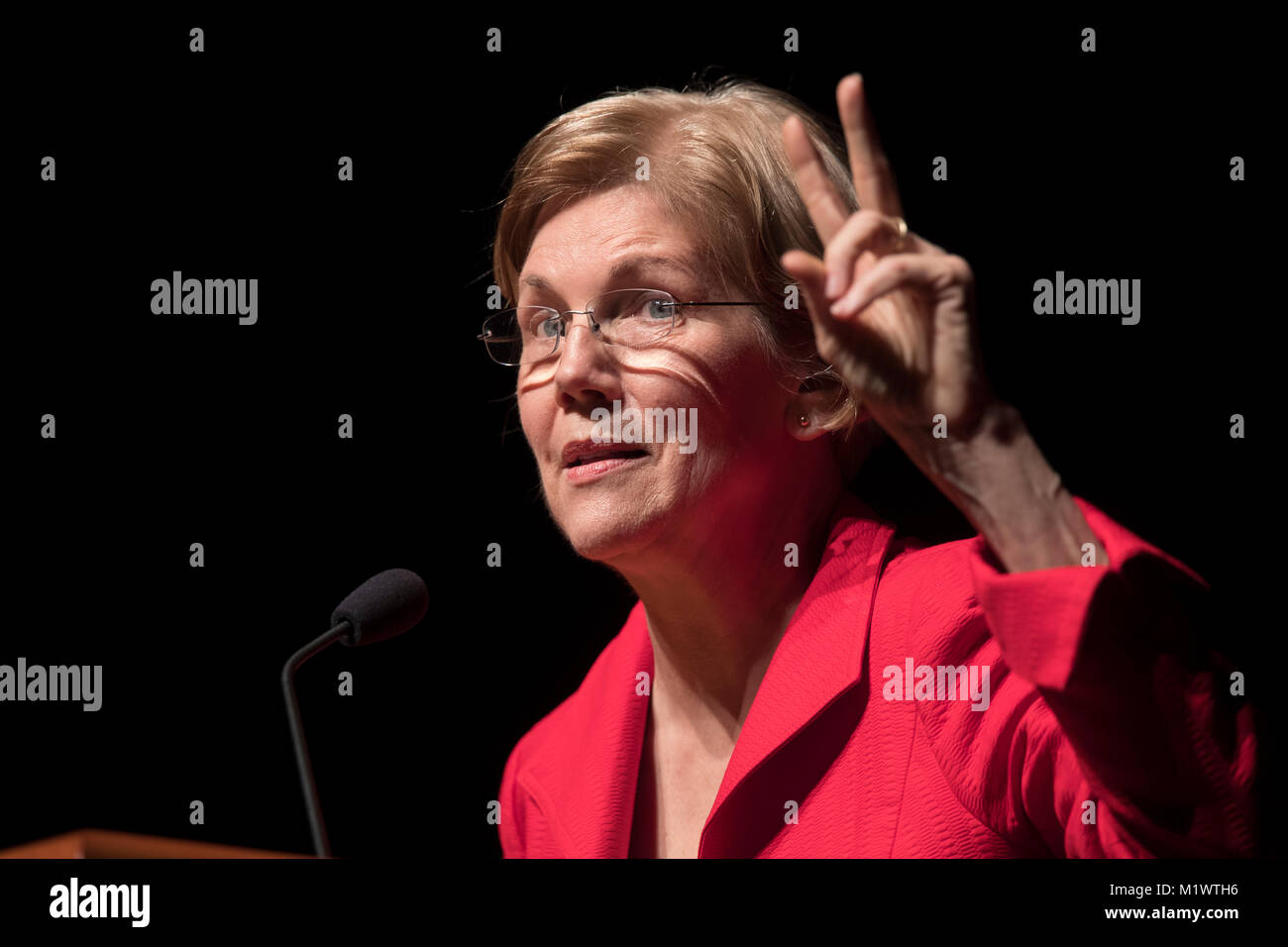 United States senator Elizabeth Warren, a Democrat from Massachusetts, speaks at a 15th anniversary fundraising - Stock Image