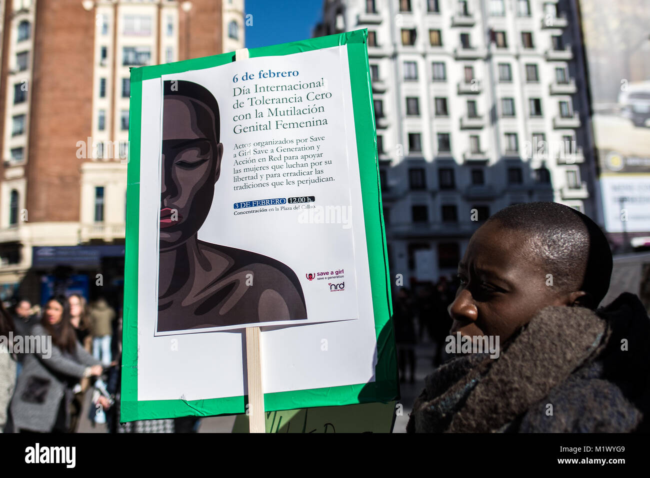 Madrid, Spain. 3rd Feb, 2018. A woman with a placard that reads 'International day of zero tolerance with female - Stock Image