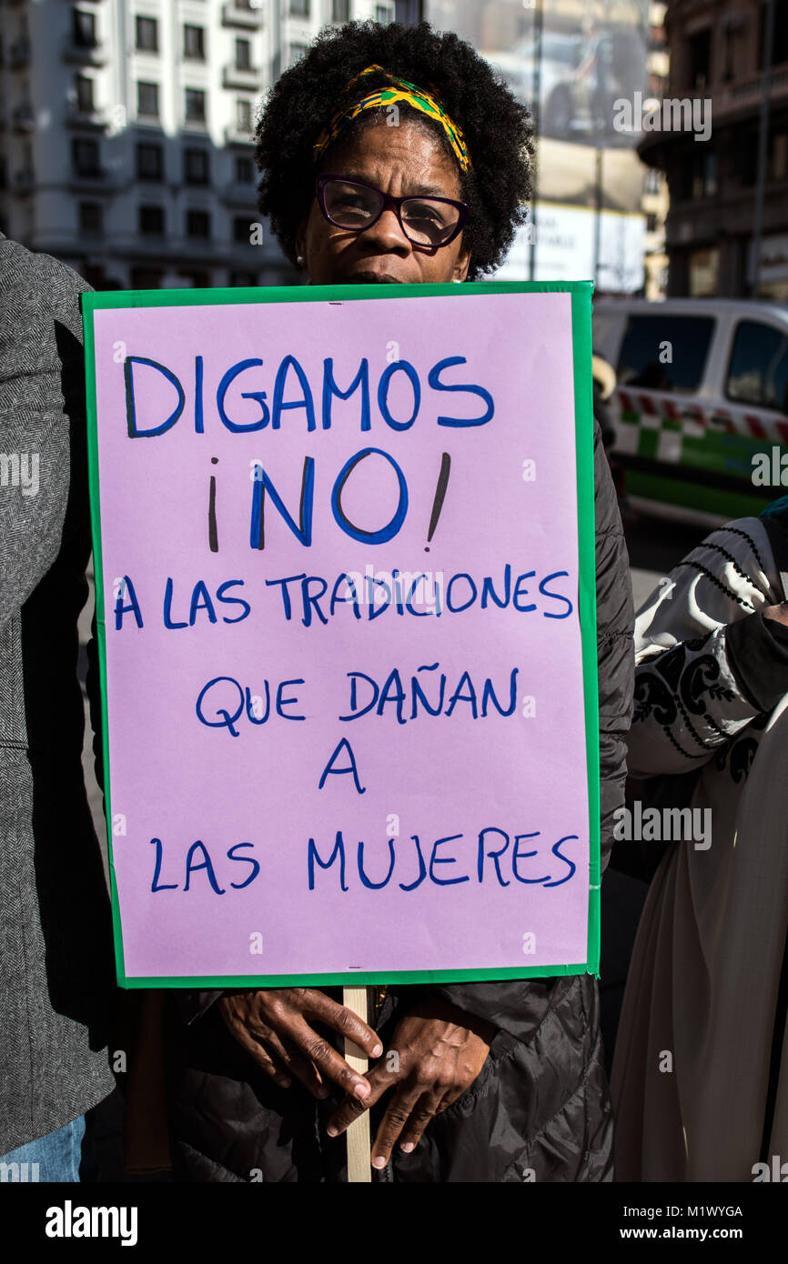 Madrid, Spain. 3rd Feb, 2018. A woman with a placard that reads 'Let's say no! to traditions that harm women' - Stock Image