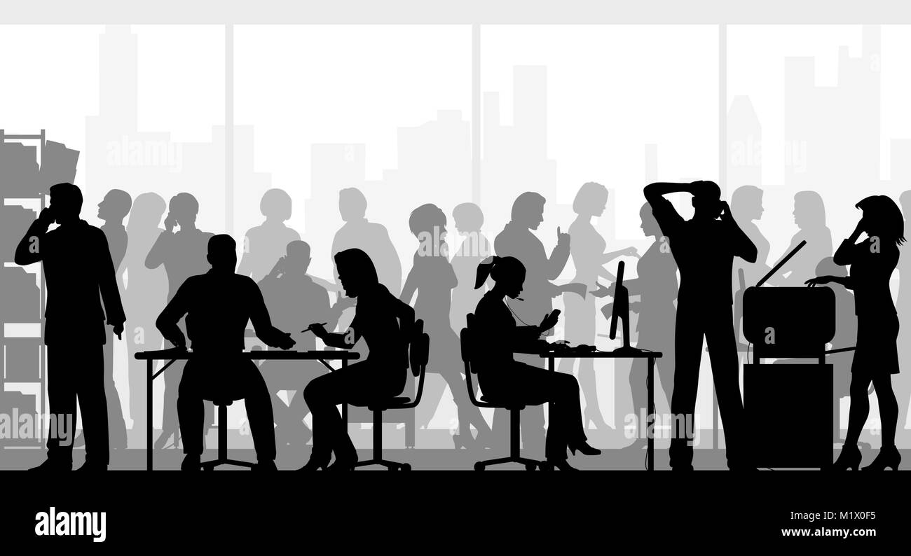 Editable vector silhouettes of people in a crowded busy office with all figures as separate objects - Stock Image