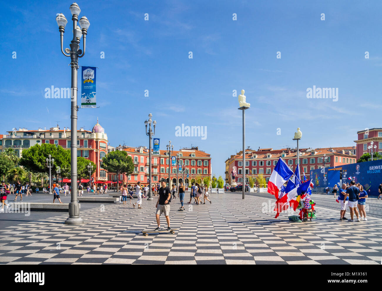 France, Alpes-Maritimes department, Côte d'Azur, Nice, view of Place Masséna, the embodiment of a - Stock Image