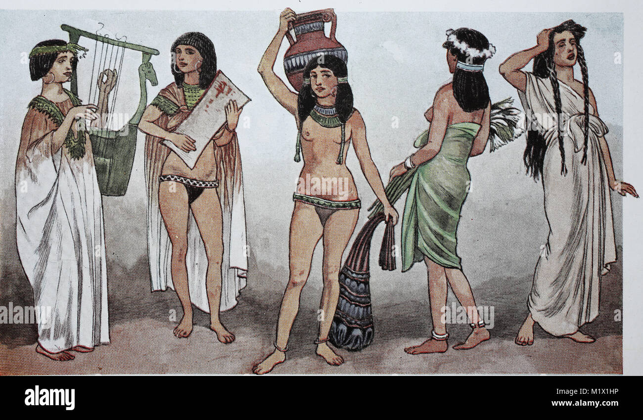 Clothing in ancient Egypt in the new kingdom around 1530 BC, from left, woman with harp in long shirt dress, woman - Stock Image