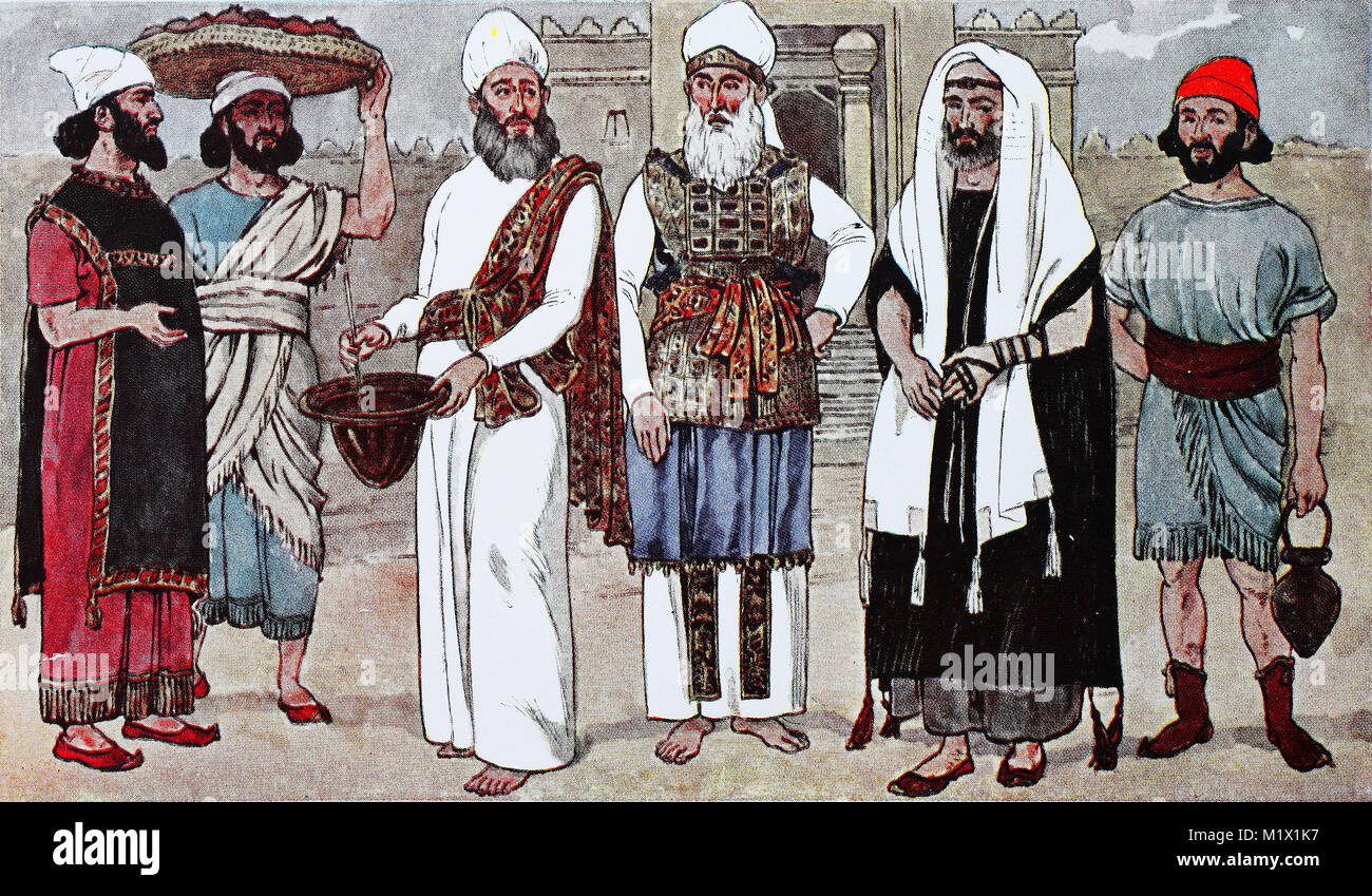 Hebrew apparel fashion in antiquity, from left, a Hebrew in a short-sleeved, long shirt, then a street vendor with - Stock Image