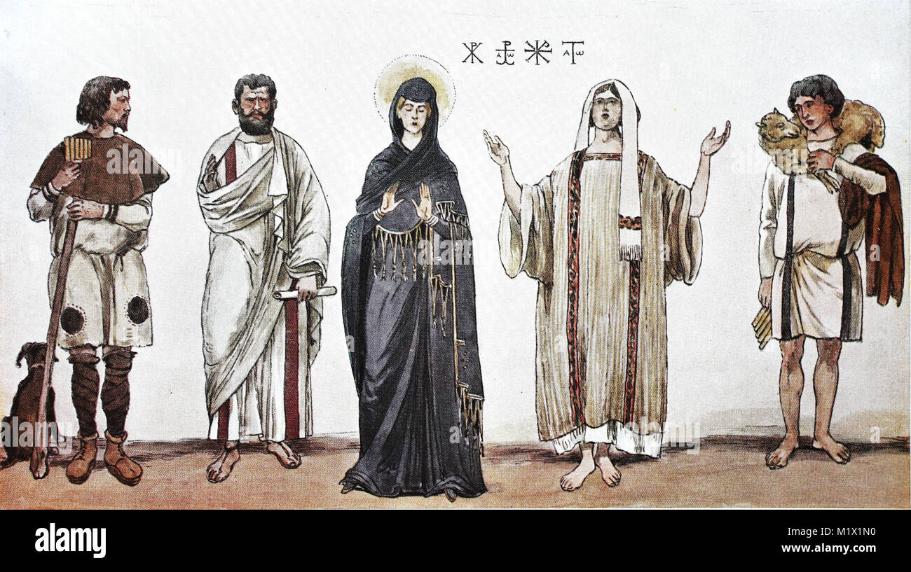 Clothing, fashion in early Christian times, 300-600 AC, from the left, shepherd in high tunic, an apostle with a - Stock Image