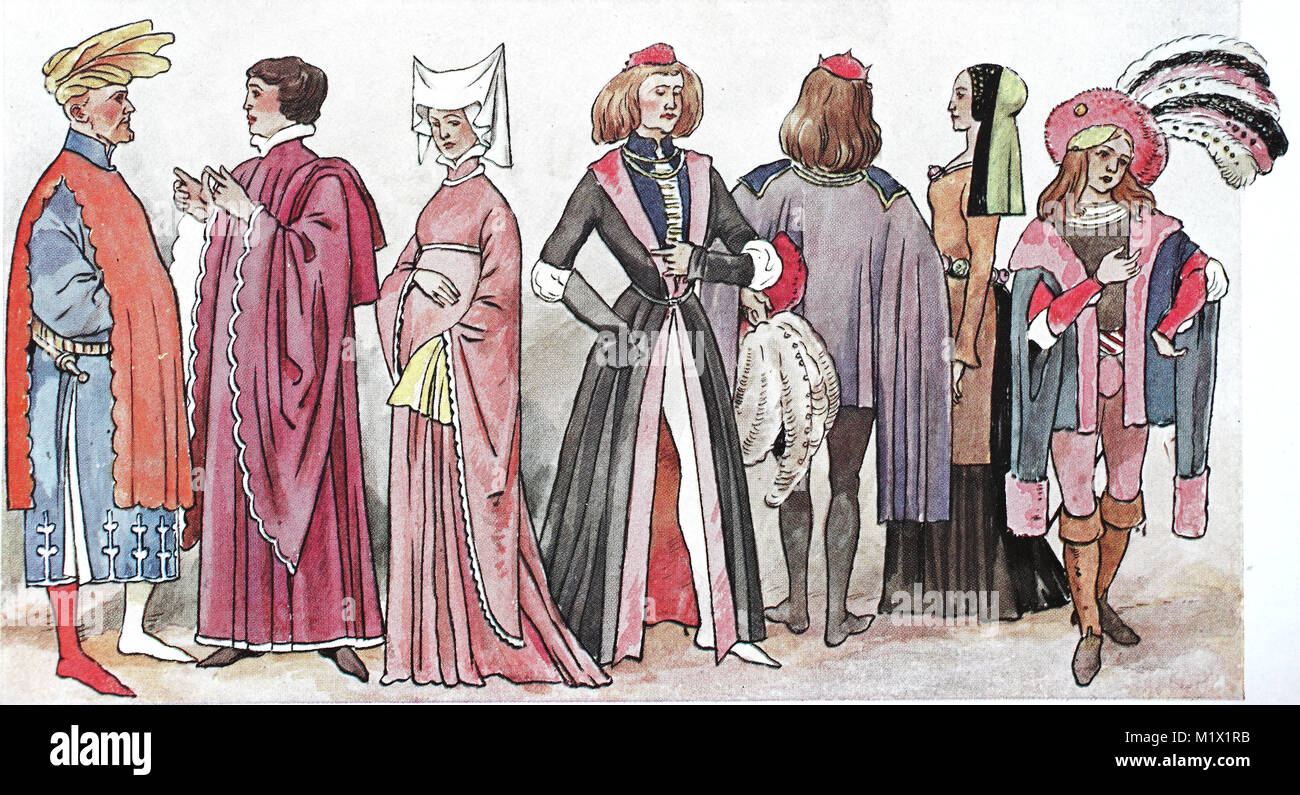 Clothing, Fashion, England in the Middle Ages, English Costumes of the 15th Century, digital improved reproduction - Stock Image