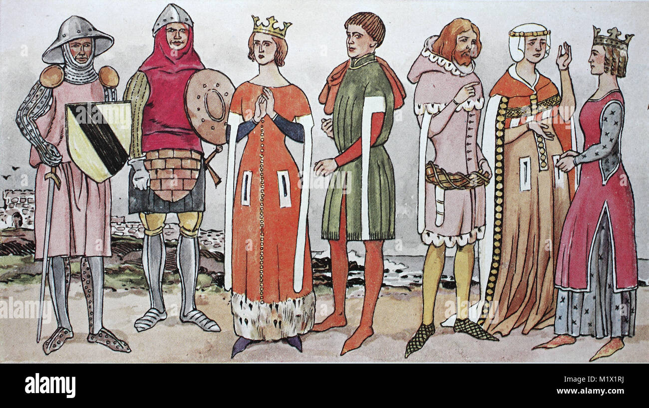 Clothing, fashion, England in the Middle Ages, English costumes of the 14th century, similar to the Burgundian-French - Stock Image