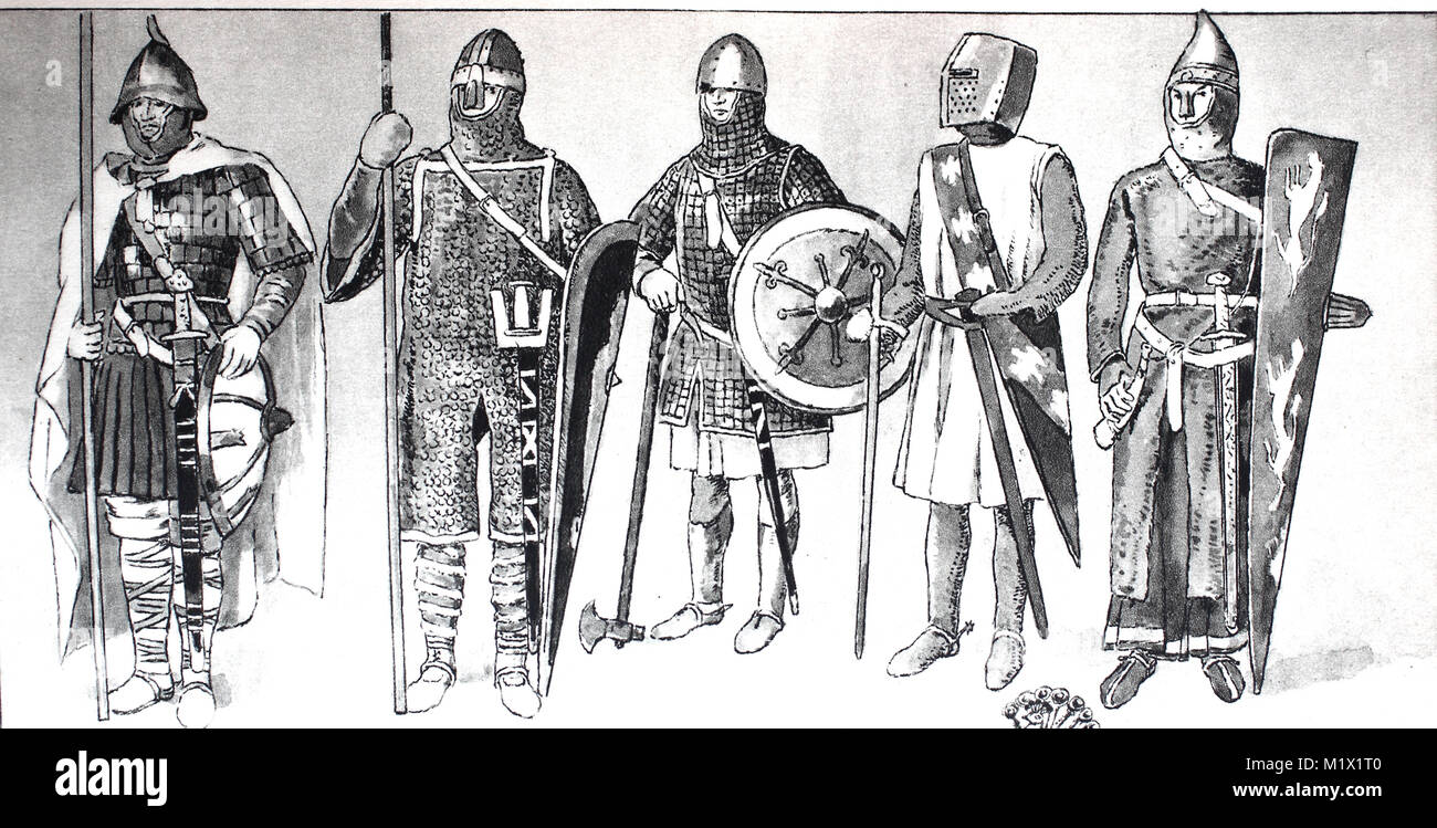 Clothing, fashion, knight costumes in the Middle Ages, from the left, knight with iron helmet over leather cap and - Stock Image