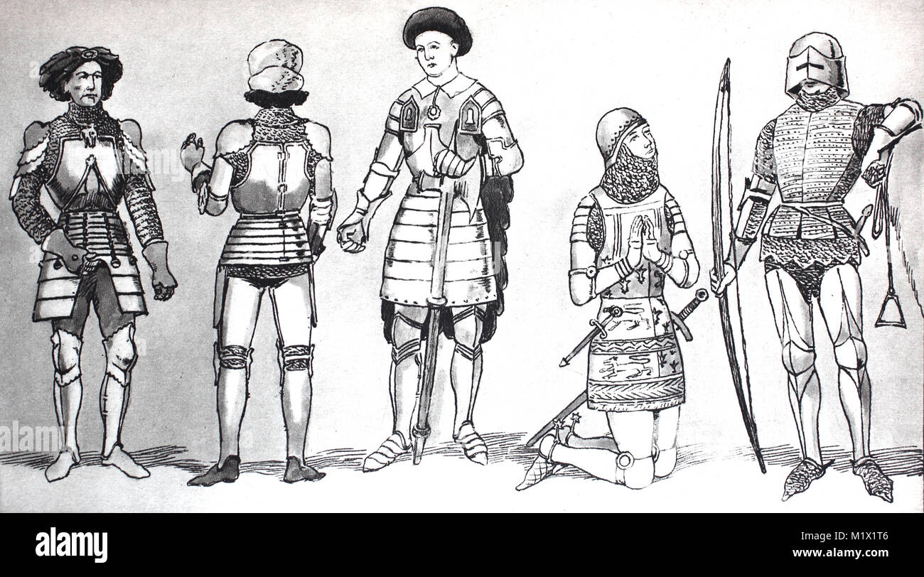 Clothing, fashion, knights costumes in the late Middle Ages, from the left, Burgundian armor with plate armor over - Stock Image