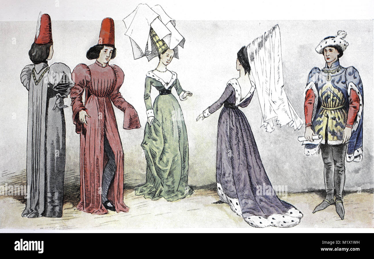 Clothing, fashion in France, Burgundian fashion from 1425-1490, costumes at court, from left, court gentlemen around - Stock Image