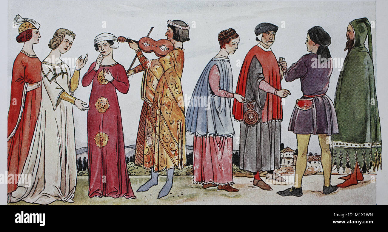 Clothing, fashion of the Italian early Renaissance, 14th century, in 1340 - 1360, from left, three noble ladies Stock Photo