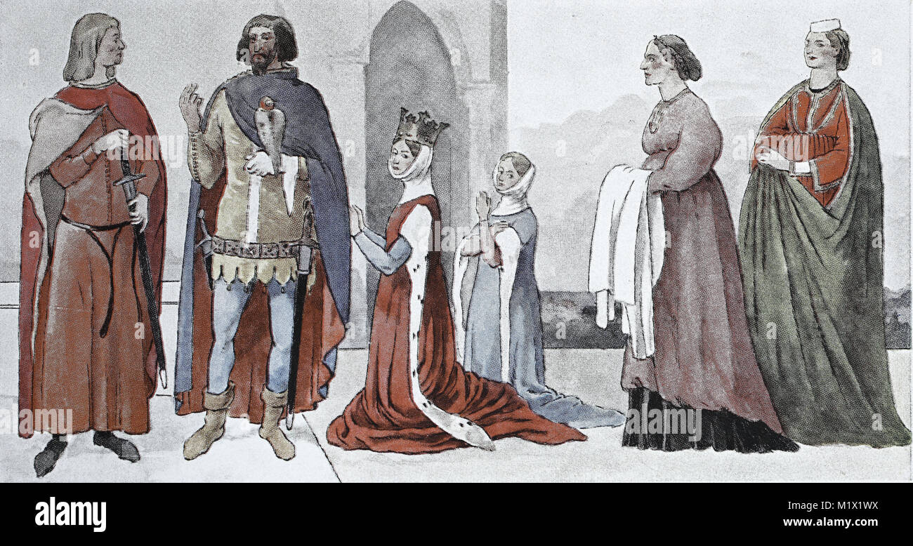Clothing, fashion of the Italian early Renaissance, 14th century, in