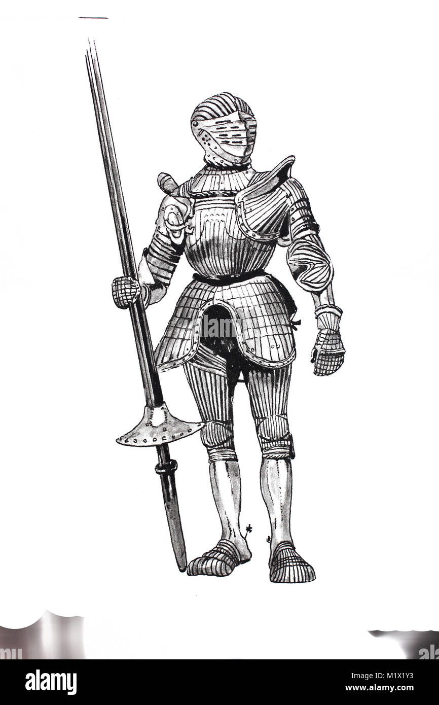 Fashion, clothing, armor in the late Middle Ages, German armor made of steel around 1515, with high shoulder edges, - Stock Image