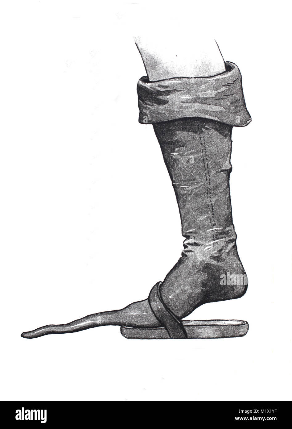 Fashion, clothing, footwear in the late Middle Ages in Europe, beak boots with short under-shoe, digital improved - Stock Image