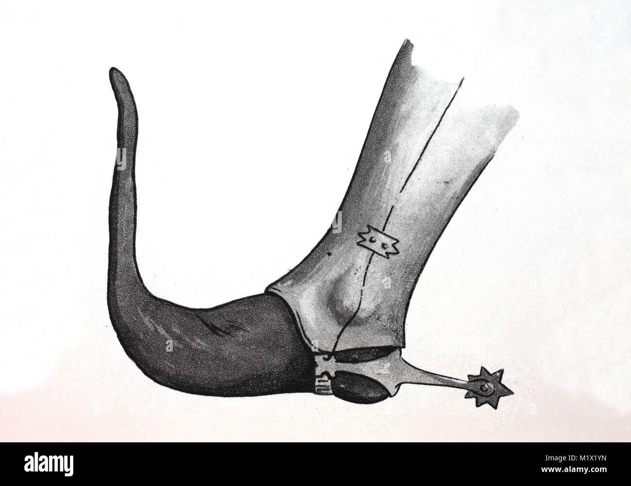 Fashion, clothing, footwear in the late Middle Ages in Europe, beak shoe to leg splints and spurs, digital improved - Stock Image
