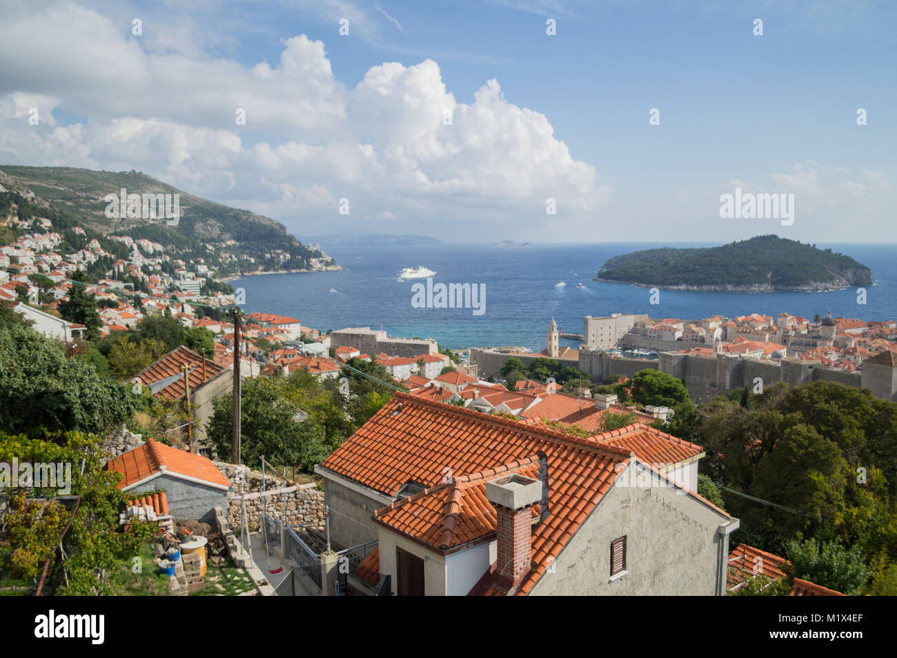 View onto Lokrum Island and Old Town of Dubrovnik from Lookout Point, Croatia - Stock Image