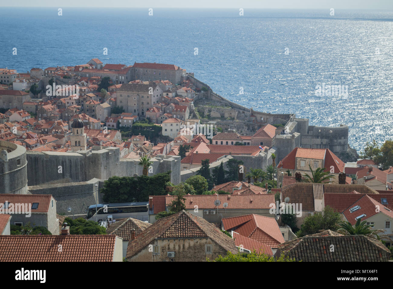 View onto Old Town of Dubrovnik from Lookout Point, Croatia - Stock Image