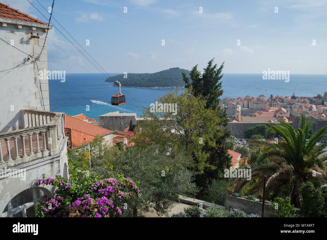 View onto Lokrum Island and Old Town of Dubrovnik with Cable Car, Croatia - Stock Image