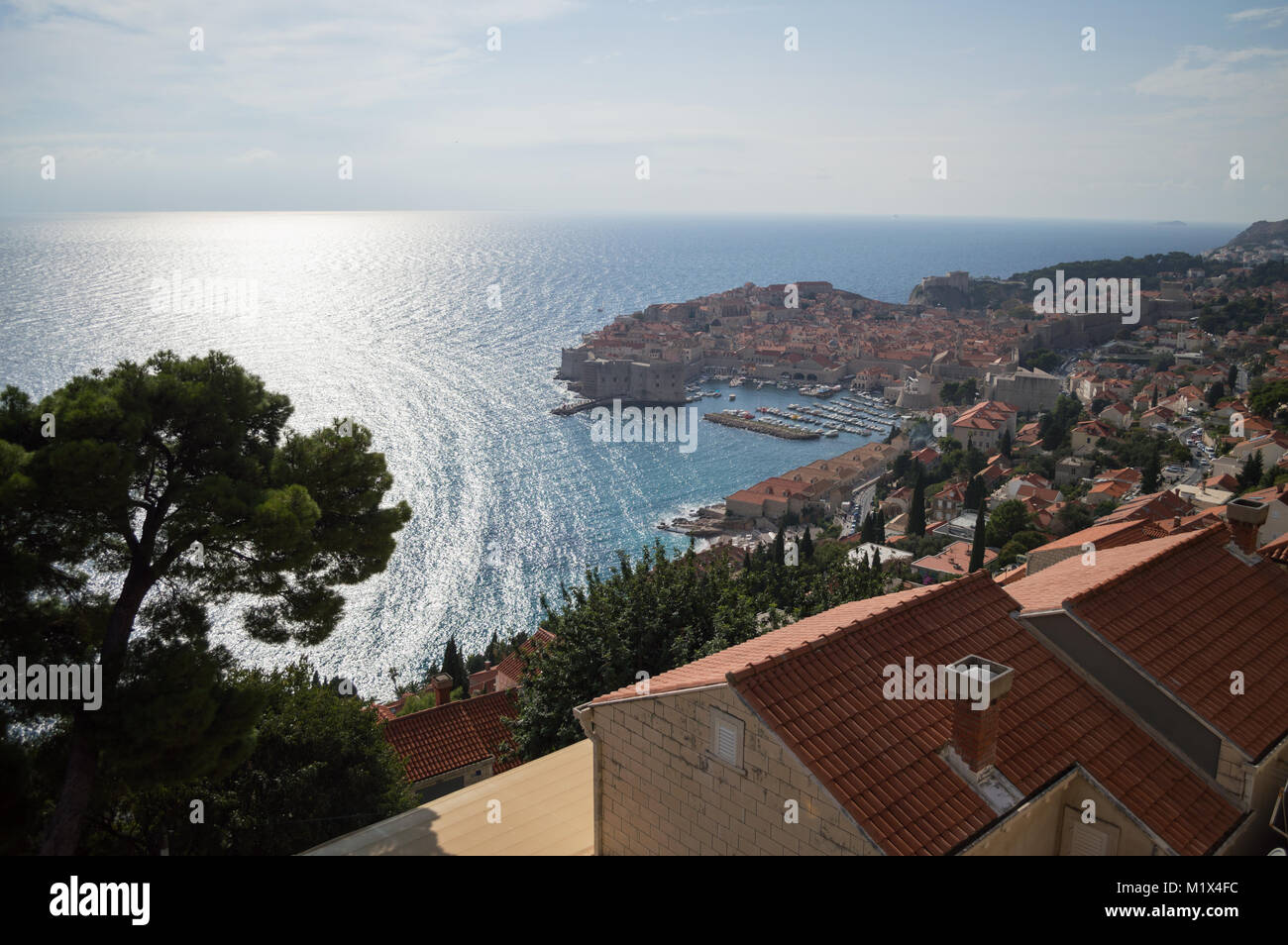 View onto Old Town of Dubrovnik with Harbor from Lookout Point, Croatia Stock Photo