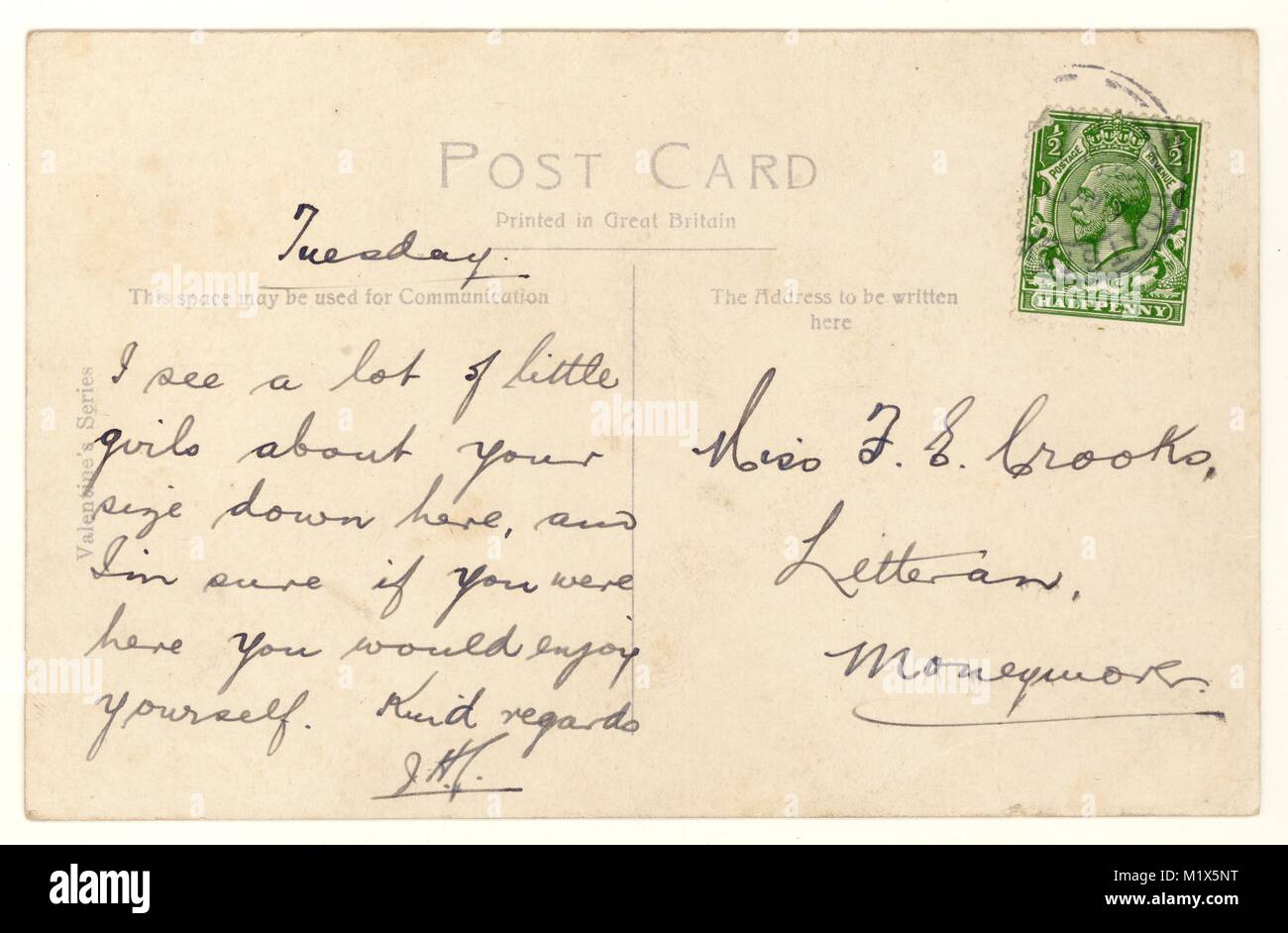 Reverse of  WW1 era Valentines Series postcard, franked and with King George V half penny postage stamp,  U.K. circa - Stock Image