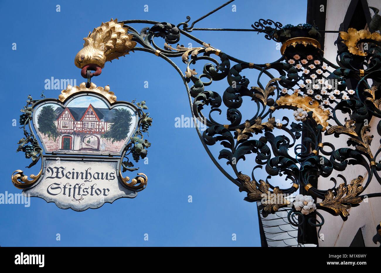 Sign of an inn, wine tavern Stiftstor, Treis-Karden, Moselle river, Rhineland-Palatinate, Germany, Europe Stock Photo