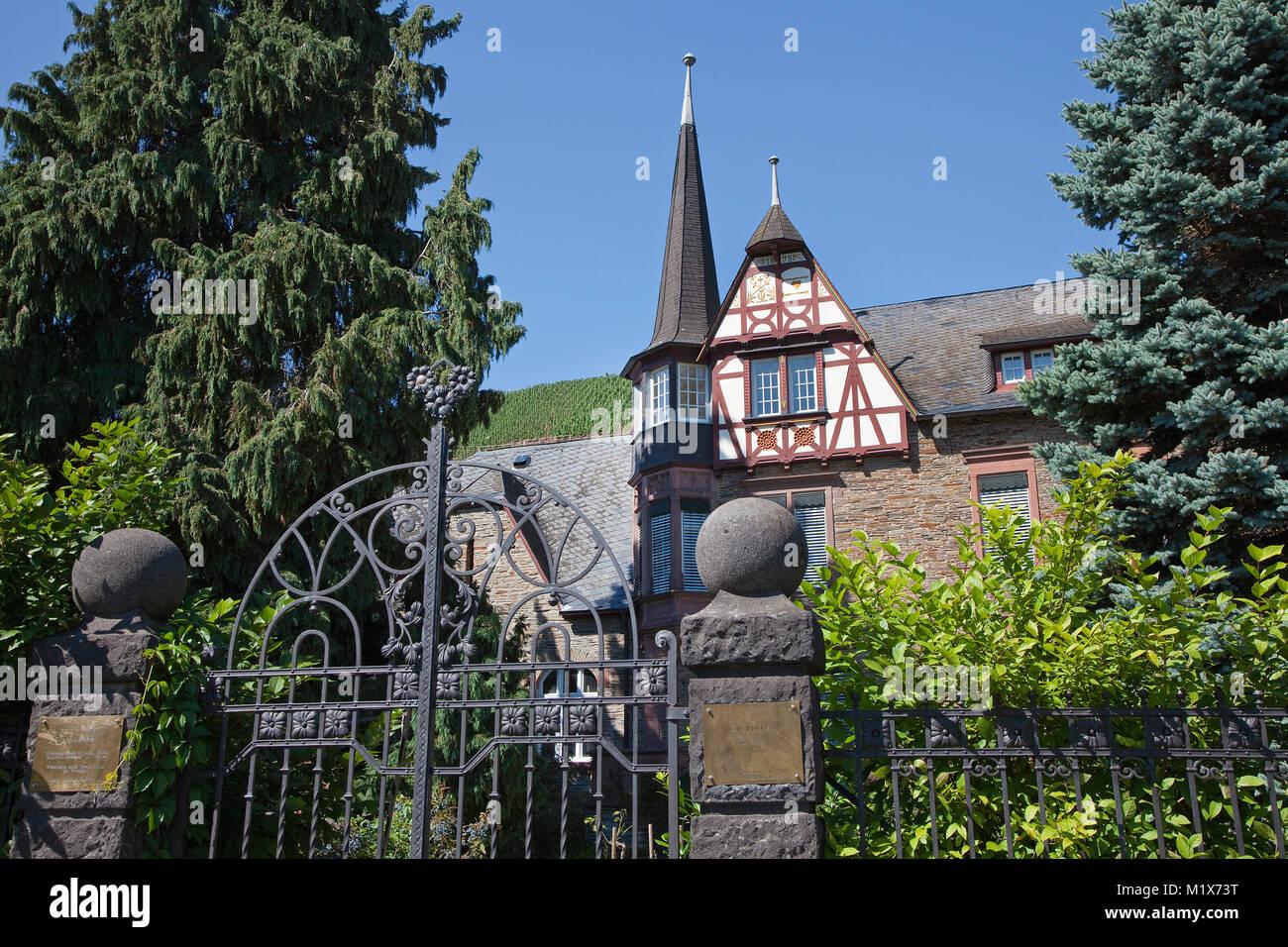 Vineyard estate Berres at wine village Uerzig, Moselle river, Rhineland-Palatinate, Germany, Europe Stock Photo