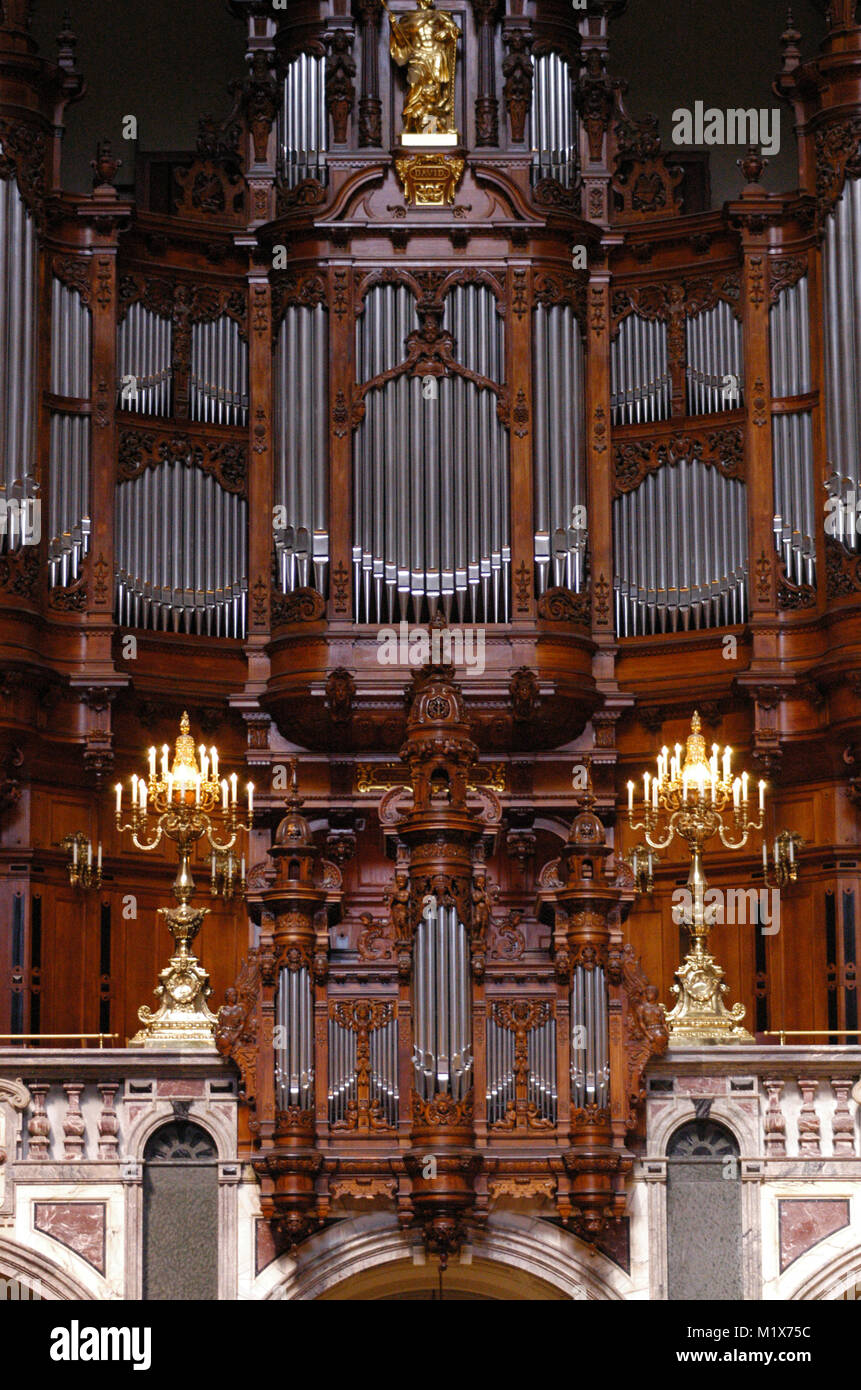 Germany. Berlin. Sauer organ of the High Parish and Cathedral Church. Built by Wilhelm Sauer (1831-1916) in 1904. - Stock Image