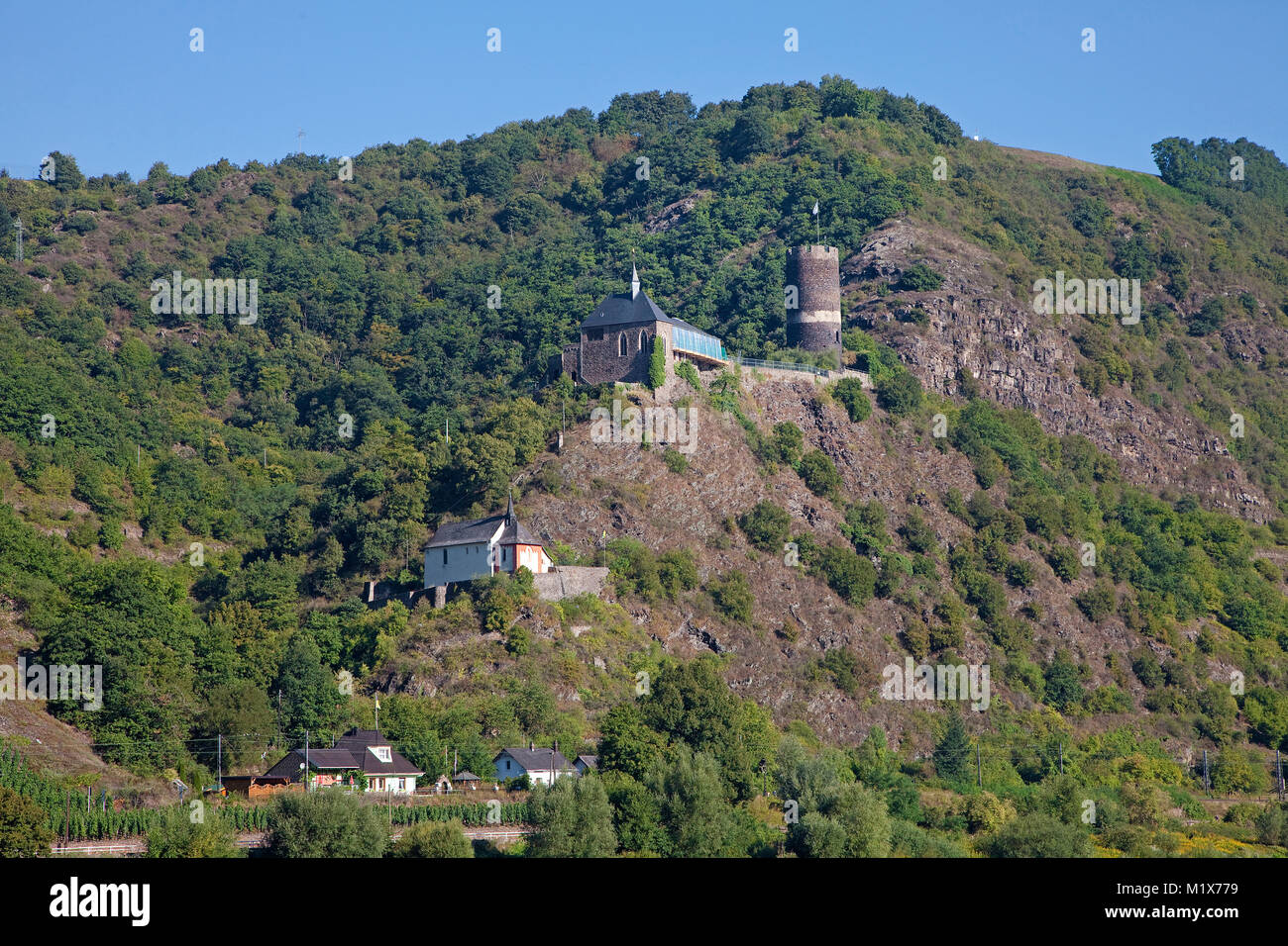 Spur castle Bischofstein and chapel Saint Stefphan, Burgen, Moselle river, Rhineland-Palatinate, Germany, Europe - Stock Image