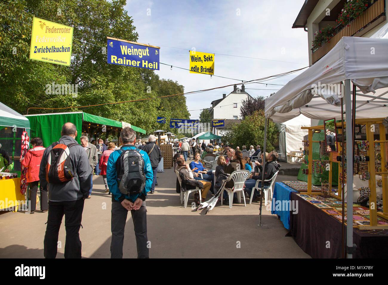 Wine festival at Moselle village Brauneberg, Moselle river, Rhineland-Palatinate, Germany, Europe - Stock Image