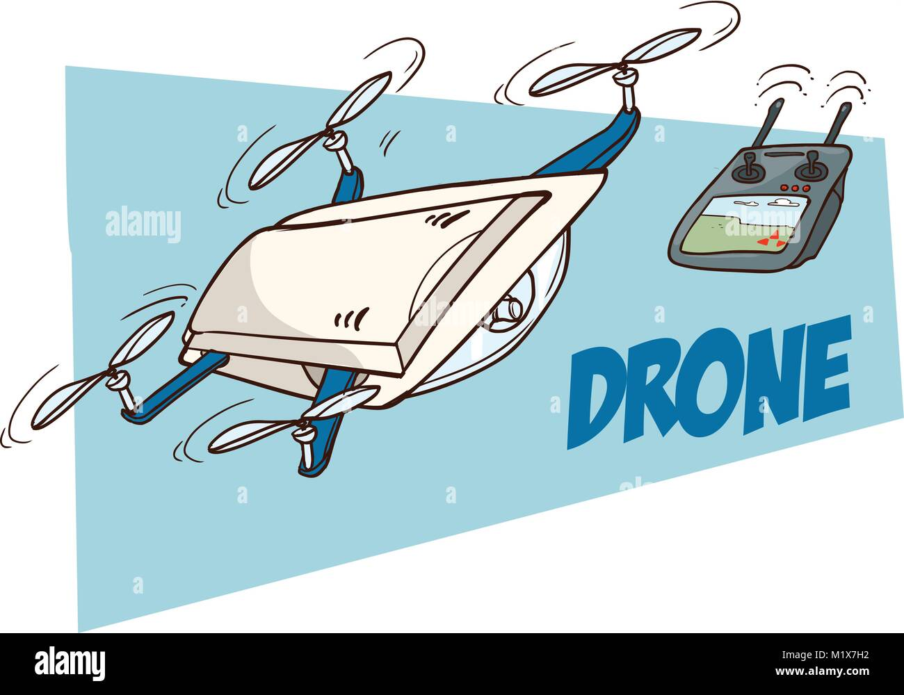 vector illustration of a Flying drones - Stock Vector