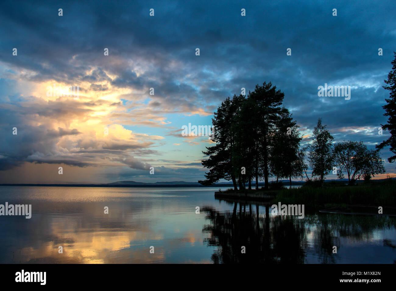 Sunset by Orsa Lake in Dalarna, Sweden. Stock Photo