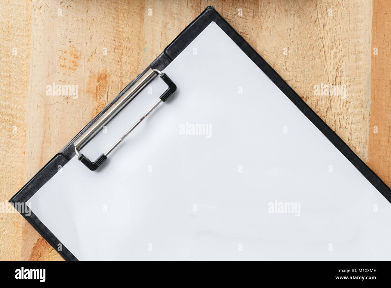 Close up top view paper board with white space use for your texts display - Stock Image