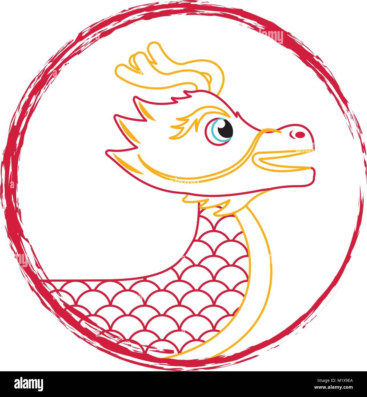 drawing red chinese dragon symbol - Stock Image