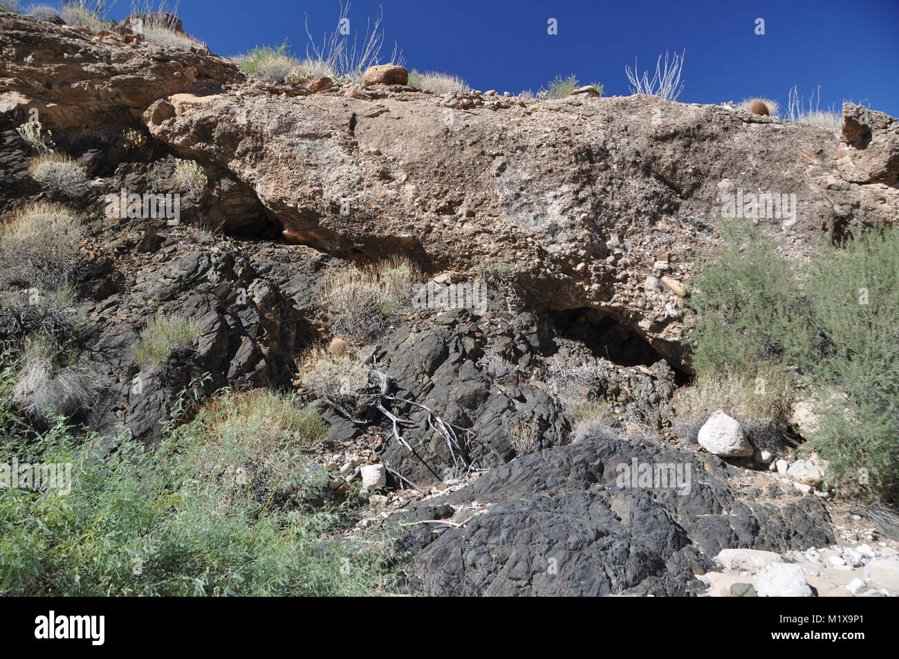 Angular unconformity between Precambrian basement rocks and Neogene hillslope deposits, Peach Springs Canyon, Grand - Stock Image