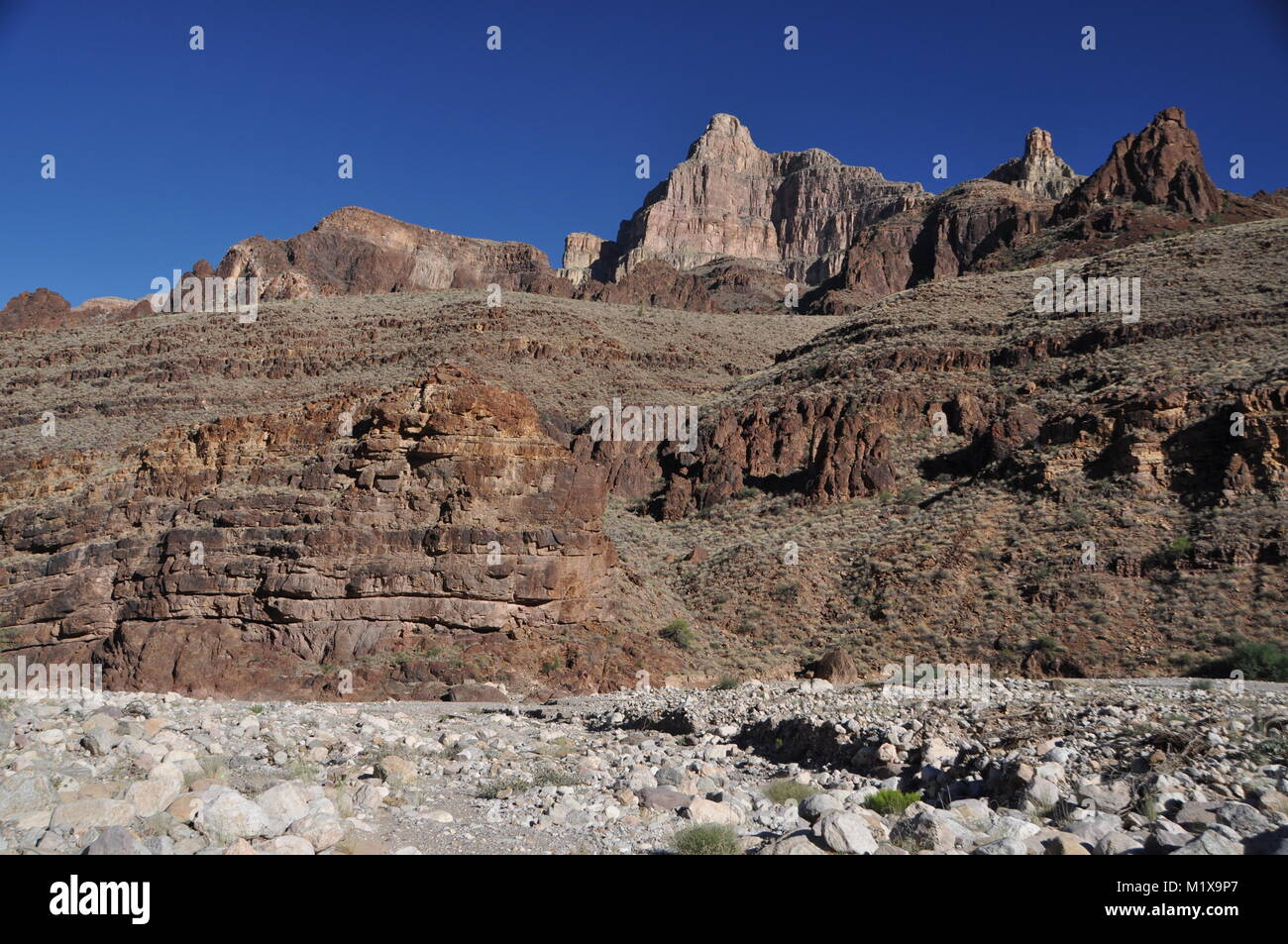 Diamond Peak as seen from Peach Springs Canyon, a tributary to the Grand Canyon, Lake Mead National Recreation Area, - Stock Image