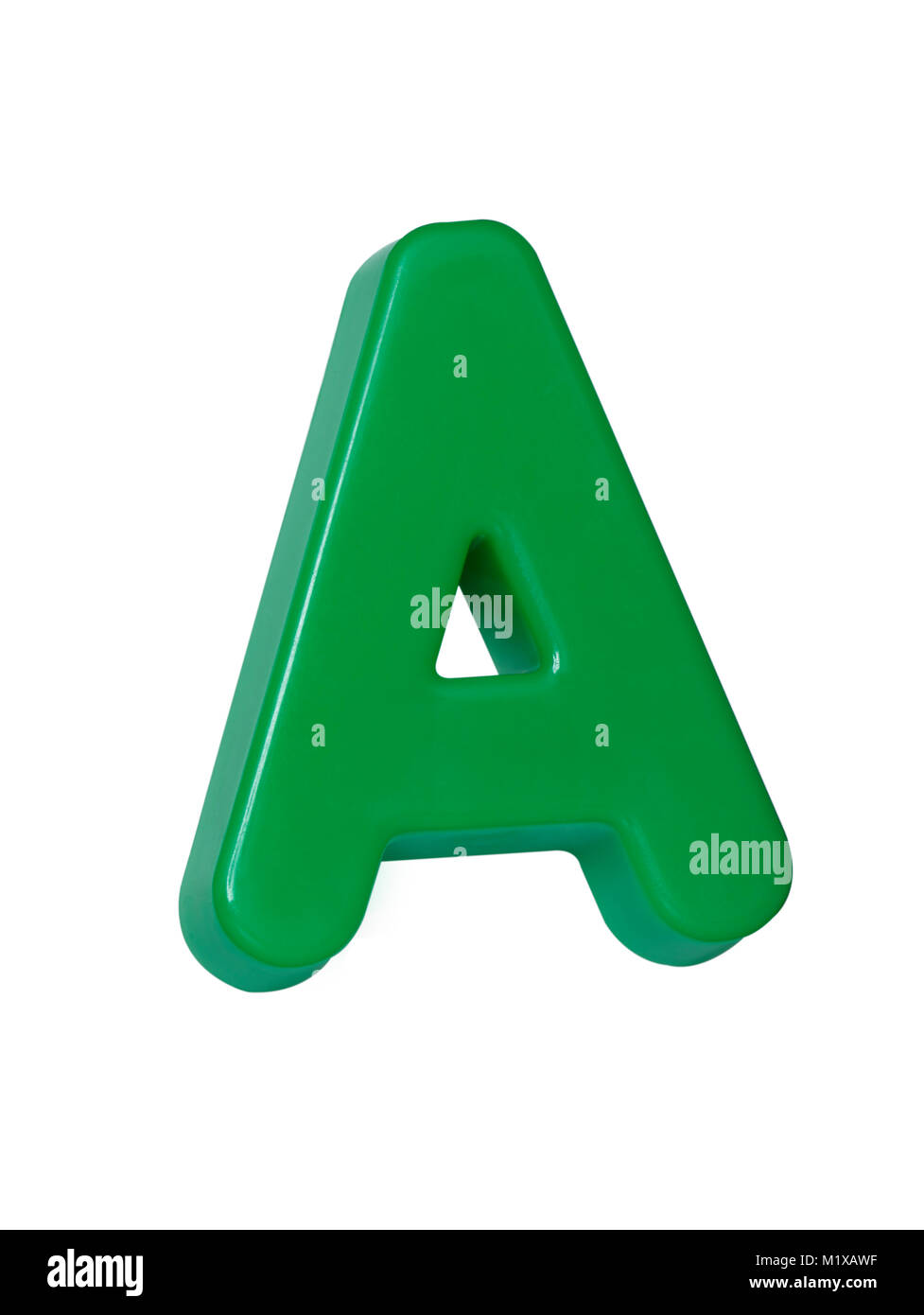 A cut out shot of a green plastic letter 'A' - Stock Image