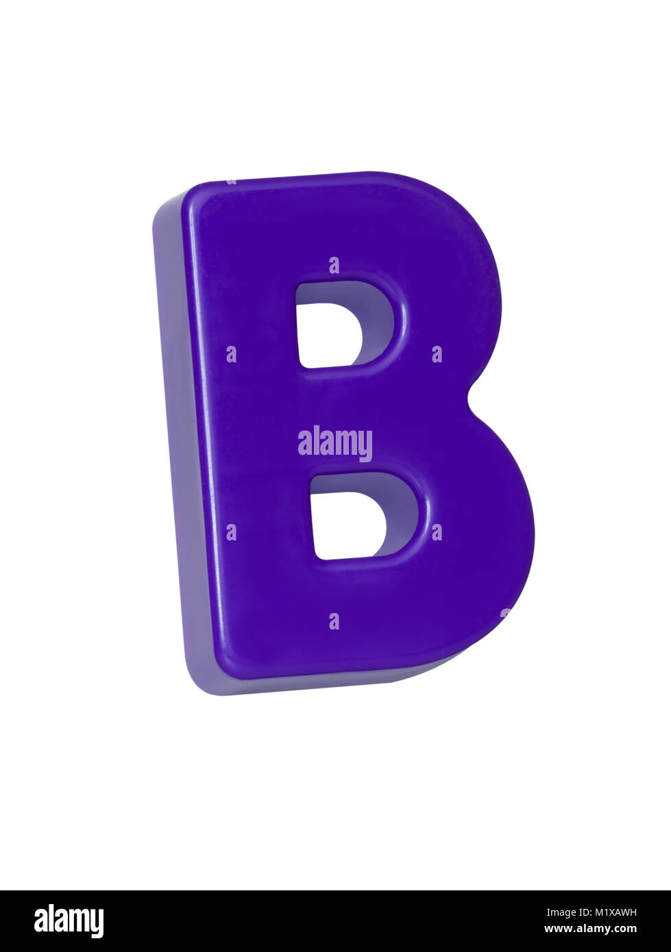 "A cut out shot of a purple plastic letter ""B"" Stock Photo"