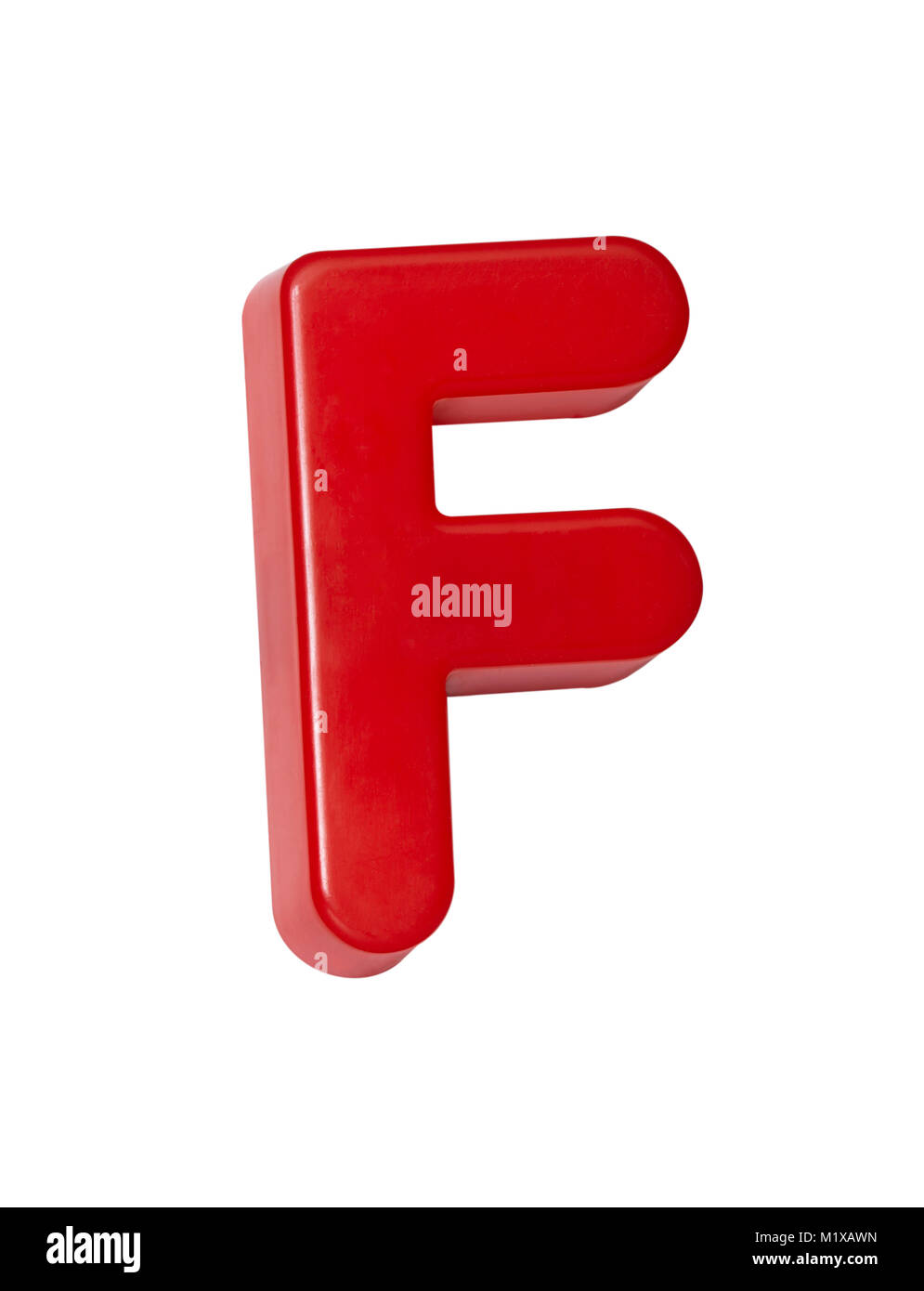 A cut out shot of a red plastic letter 'F' - Stock Image