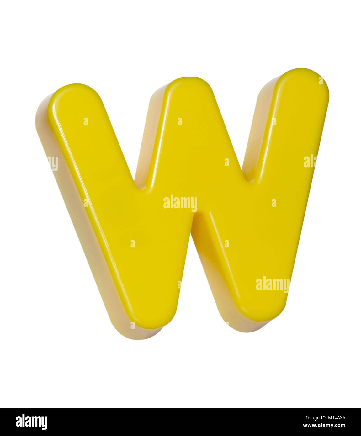 """A cut out shot of a yellow plastic letter """"W"""" Stock Photo"""