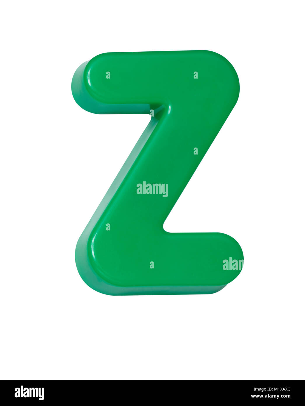 A cut out shot of a green plastic letter 'Z' - Stock Image