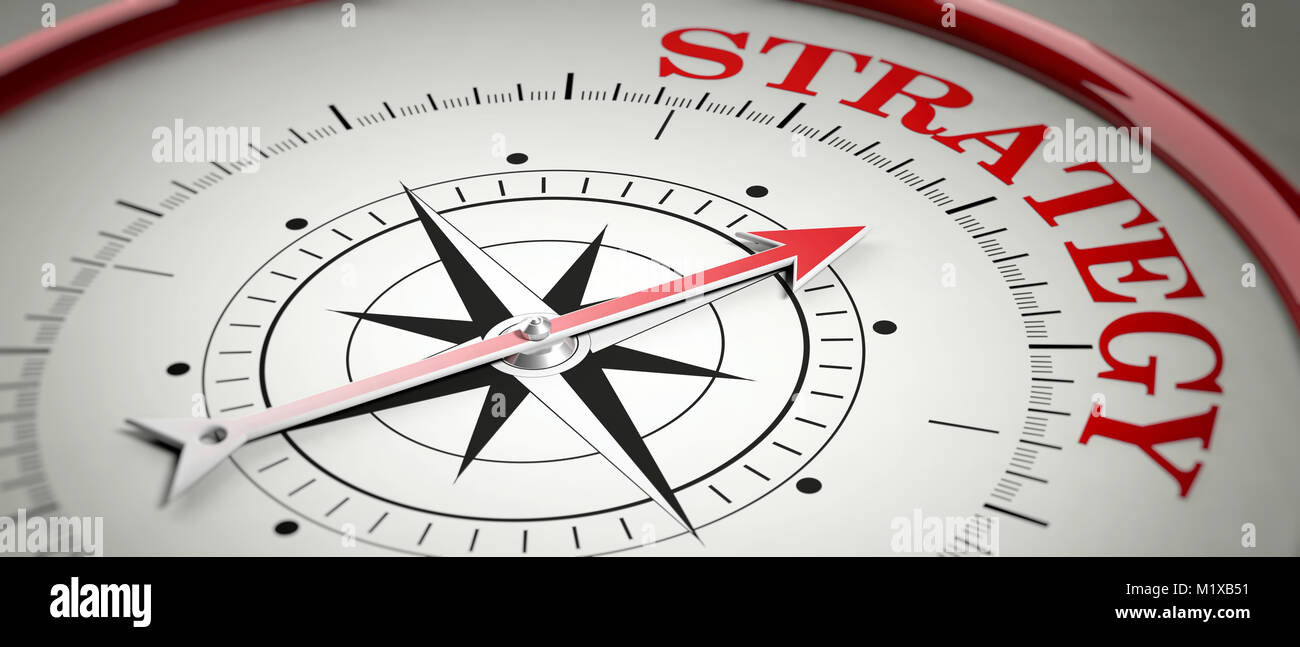 Strategy concept. Compass red arrow pointing at red letters word Strategy. 3d illustration Stock Photo