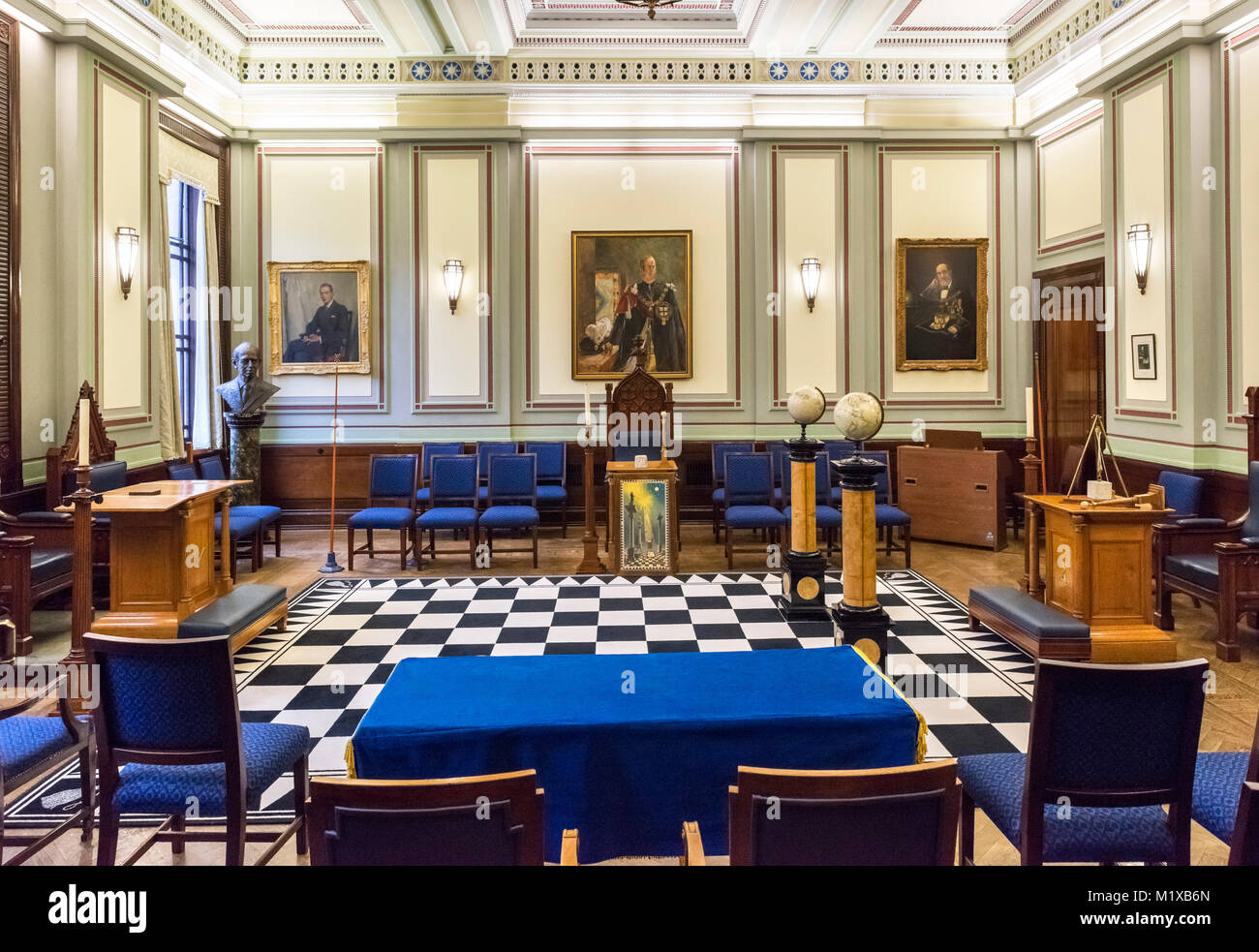 A Lodge Room. set up for a lodge meeting, in Freemasons' Hall, London, England, UK. - Stock Image