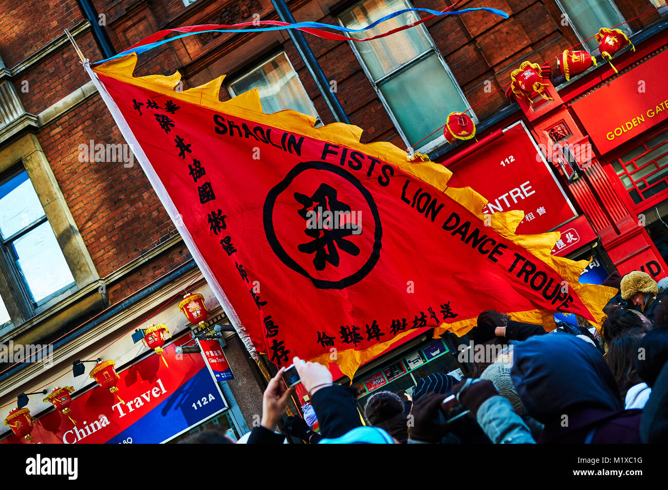 chinatown london chinese new year parade red lantern stock image