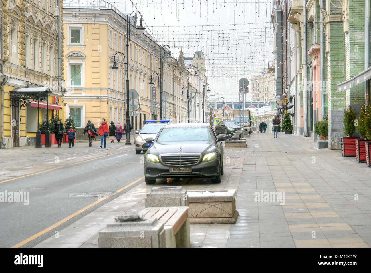 MOSCOW, RUSSIA - January 13.2018: Bolshaya Dmitrovka Street, the former Pushkinskaya street in the historic centre - Stock Image